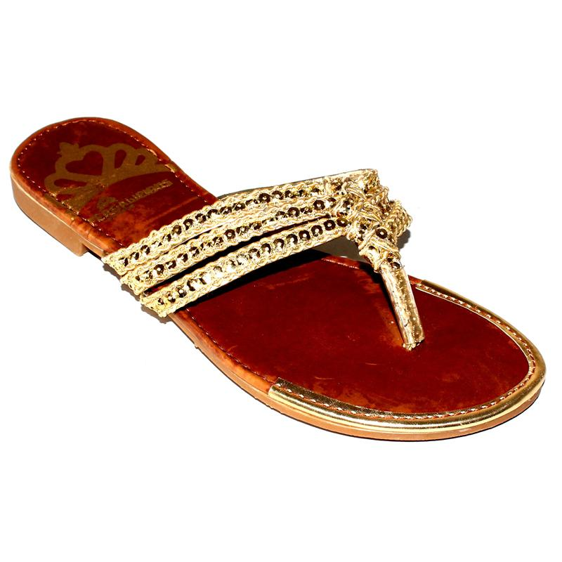 Pergalicious By Fergie Gold Leather Ladies Slippers