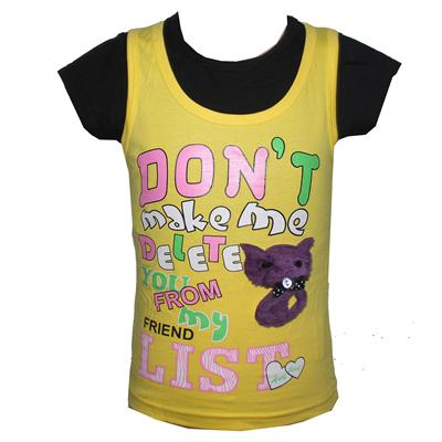 Anytime Yellow/Black 2in1 Girls Top