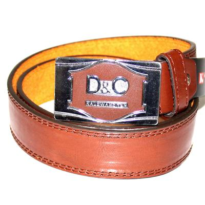 D&G Brown Leather Silver/Brown Rectangle Buckle Men's Belt