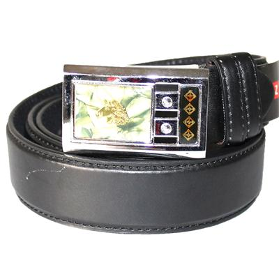 Black Leather Silver/Green/Gold Buckle Men's Belt