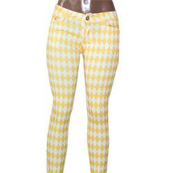 Usy Yellow/White Diamond Pattern Ladies Jeggings