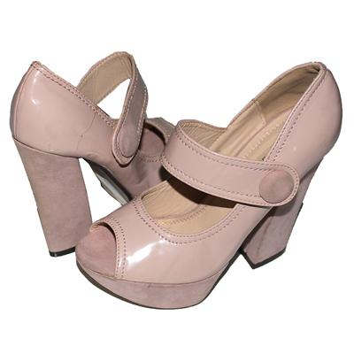 Gold && Gold Light Pink Patent Ladies Peep Toe Heel Shoe Wt Minor Peel