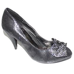 Clowse Black Glittering Leather Bow Design 2In Heel Shoe