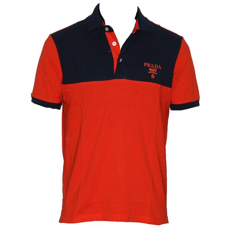 Prada Milano Orange/Navy Blue Cotton Men's Polo