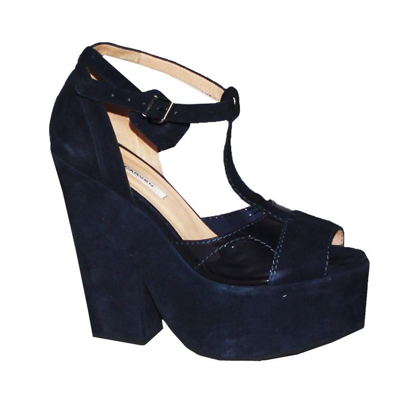 Carven Navy Suede/Leather Ladies Heel Shoe