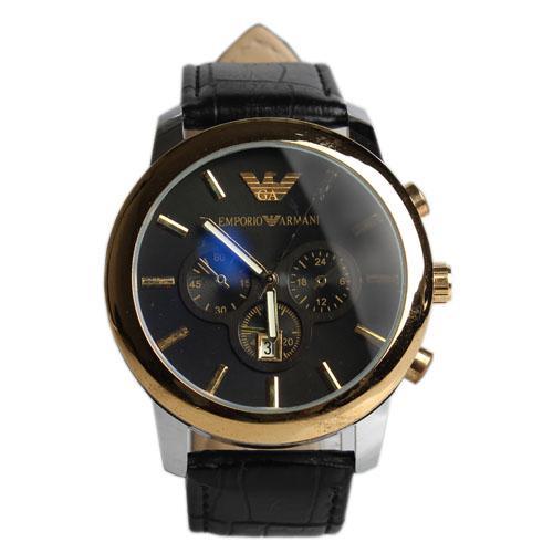 Emporio Armani Black Leather Men's Wristwatch Wt Black Face