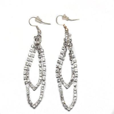 Juelz Silver Drop Earring wt V Studded Shape