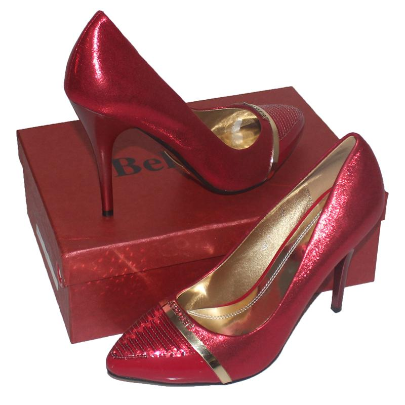 "Belluno Red Leather 4.5"""" Italian  Shoe"