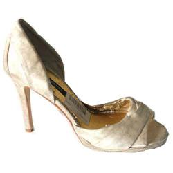 Faulty: Caparros Cream Satin Open Toe Sandal Wt (Body Stain)