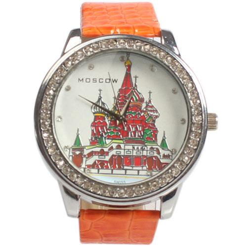 Moscow Orange Leather Ladies Watch