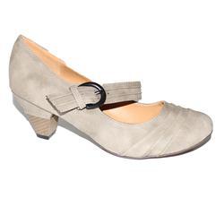 Clowse Grey Nubuck Ladies Mid Heel Shoe Wit Minor Peel