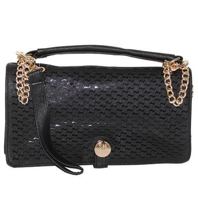 Fashion Black Leather Ladies Sling Bag