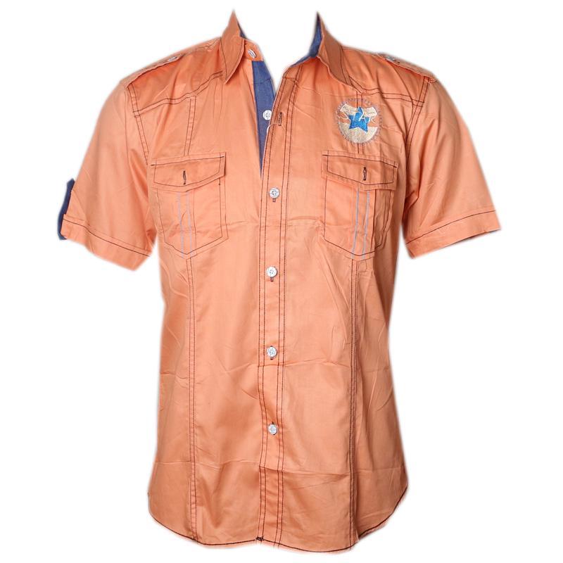 France Orange ShortSleeve Mens Casual Shirt