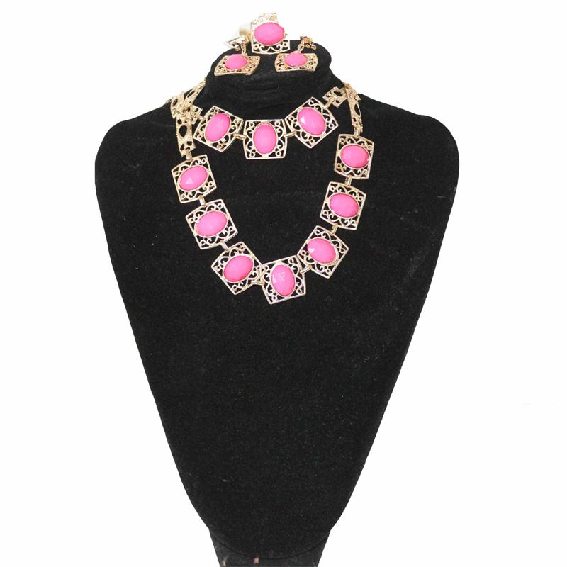 Fashion Pink/Gold Jewelry Set