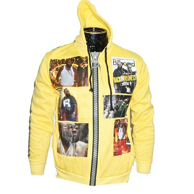 Yellow Cotton Hip-Hop Lil Wayne Print Big Zip Down Men's Hoodies
