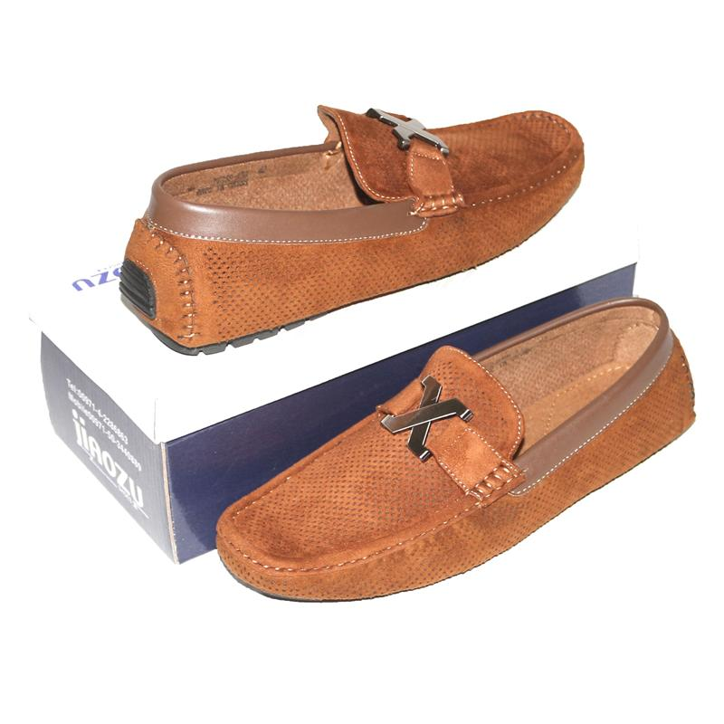 JZ Camel Brown Leather Netty Men's Loafers