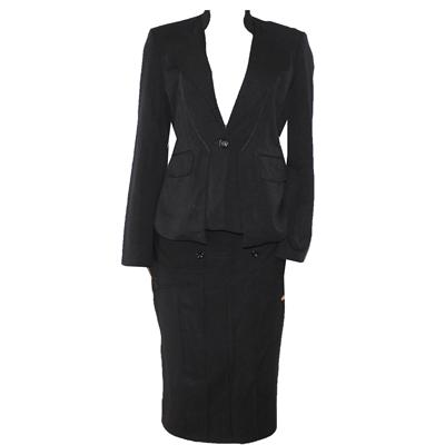Valery Black Cotton Ladies Suit Wt Front Button Designed Skirt