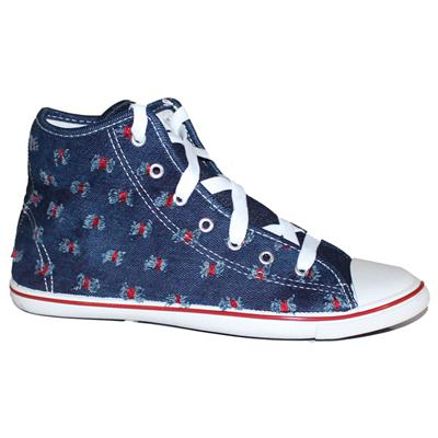 Rino Blue/Red/White Rugged Design Denim Men's Ankle Sneakers