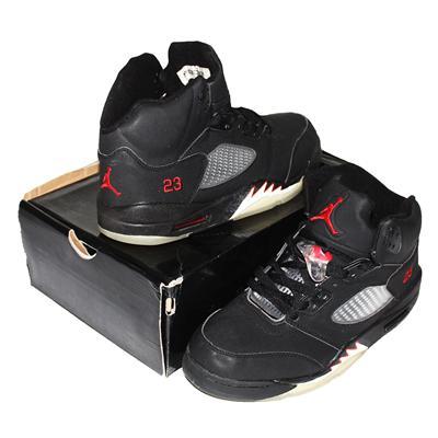 Air Jordan 5 Retro Black Fabric Men's Ankle Sneaker