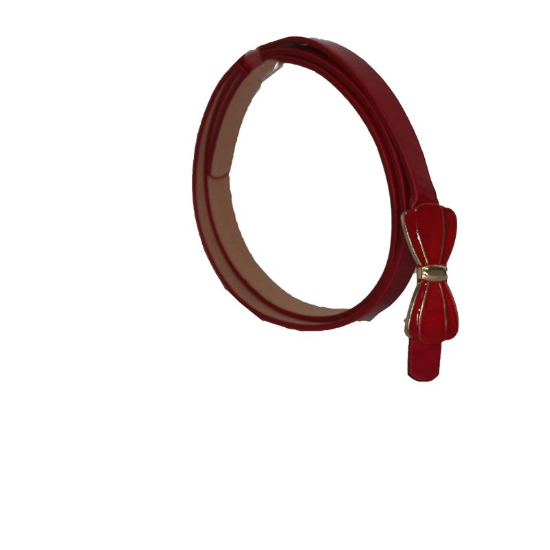 Red Patent Leather Slim Belt