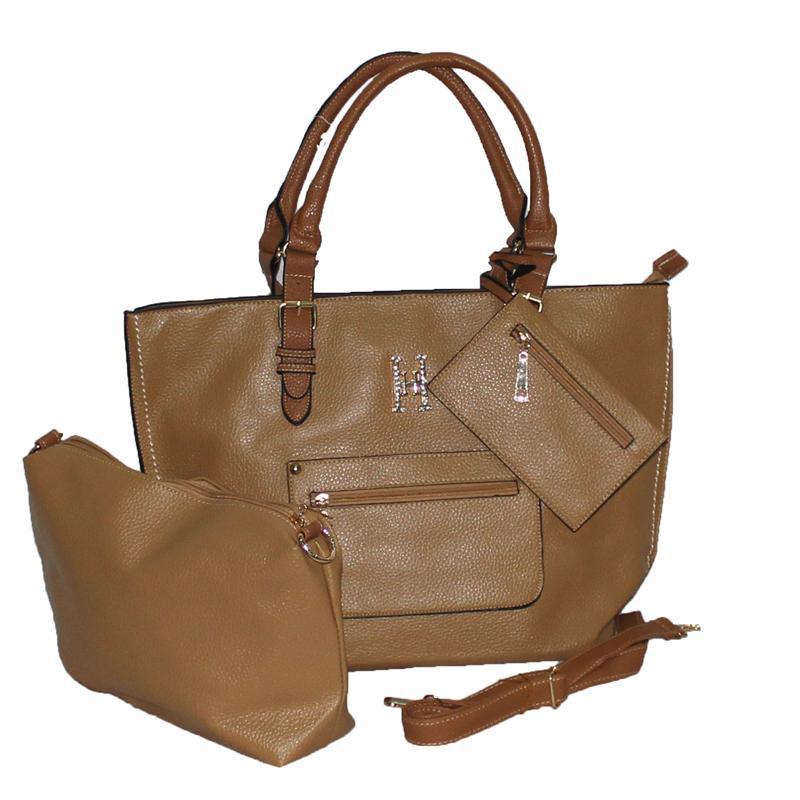 Rikes Places Khaki-Brown Leather Studded H Design Ladies Handbag