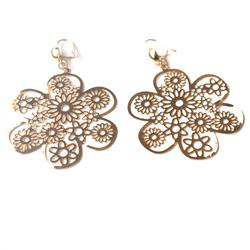 Gold Flower Shape Drop Fashion Earrings