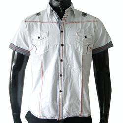 Feelingzone White Double Pocket Men's Short Sleeve Shirt