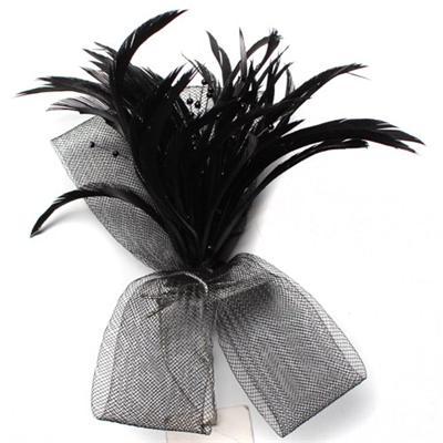 Juelz Black Slim Feather Hair Fascinator