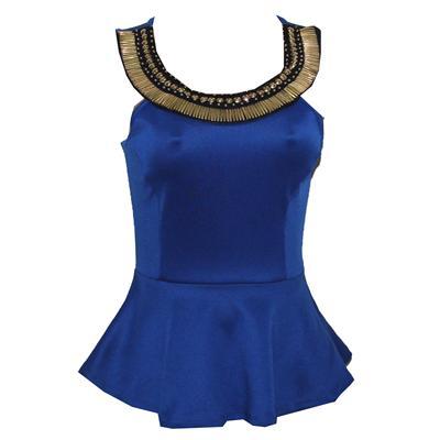 Charlotte Russe Blue Armless Cotton Ladies Top Wt Golden Stud Design