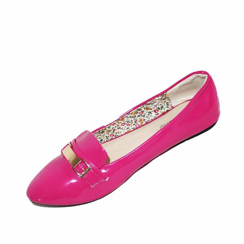 Dulina Pink Patent Leather Gold Metal Design Ladies Flat Shoe