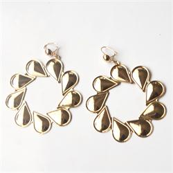 Gold Round Floral Shape Drop Fashion Earrings