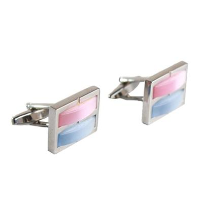 Austin Reed Silver Cufflink wt Blue/Pink Cats Lay