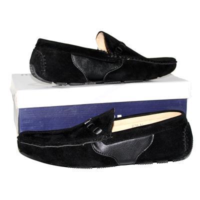 Jiaozu Black Suede/Leather Men's Loafers