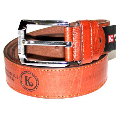 Hot Records Brown Embossed Leather Silver Buckle Men's Belt