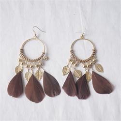 Oopia Bronze Round Ladies Drop Earrings wt Brown Feather Design