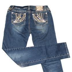 L.A Idol Blue Ladies Gold Studded Pencil Jeans Sz