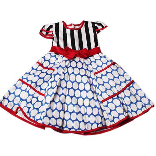Butterfly Blue/Black/Blue Polka Dot Girls Dress