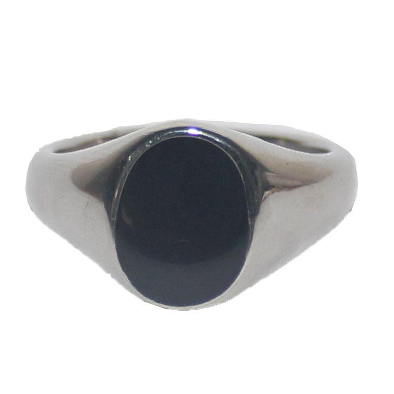 Silver-Black Oval Head Bishop Ring