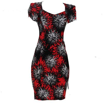 M&S Red Mix Cotton Floral S/sleeve Ladies Dress