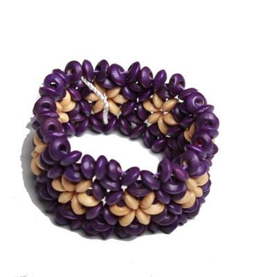 Juelz Purple/Cream Wooden Bracelets