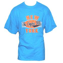 Gildan Turquoise Cotton Orange/Blue Print Men's T-Shirt