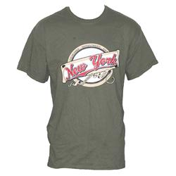 Gildan Army Green Cotton Brown/Red Print Men's T-Shirt