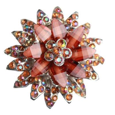 Juelz Brown Star Pattern Brooch wt Studs