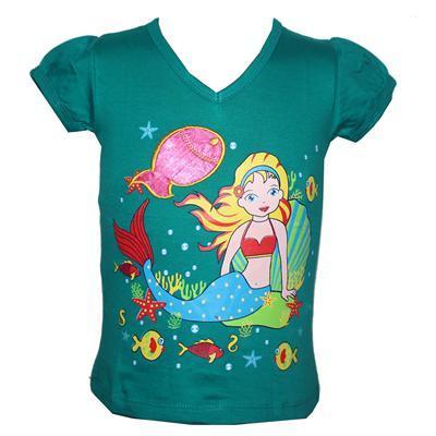 Mayogirl Aqua Green Girls Top With Mermaid Design