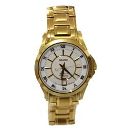 Seiko Gold Stainless Steel Round Face Men's  Watch