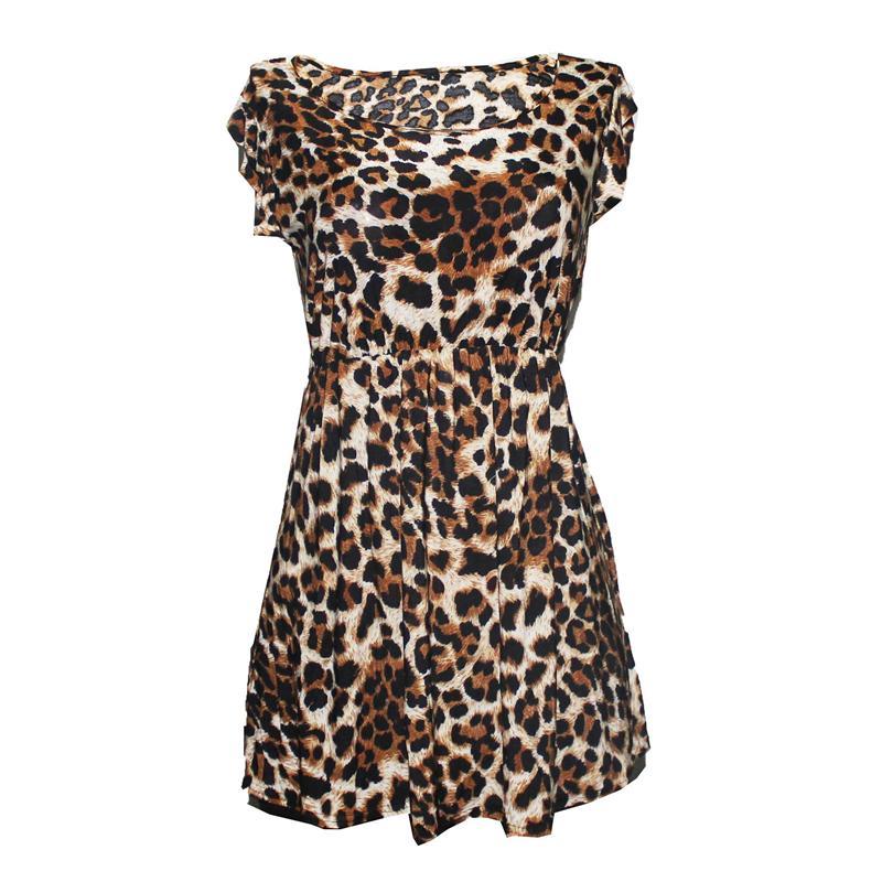Brown/Black Animal Pattern Lycra Ladies Top