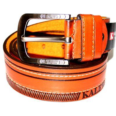 Dark Brown Threaded Embossed Leather Silver Buckle Men's Belt