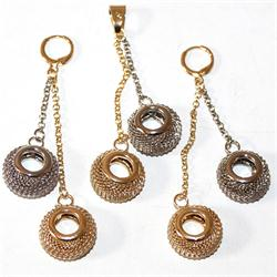Fashion Gold/Silver Ringhape Ladies Earring and Pendant Set