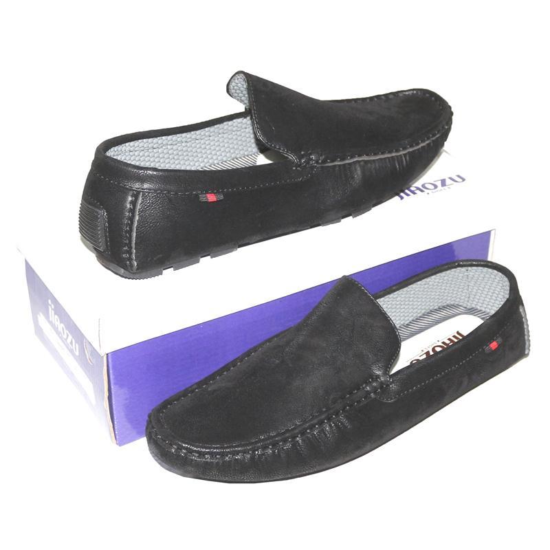 JZ Black Nubuck Leather Men's Loafers