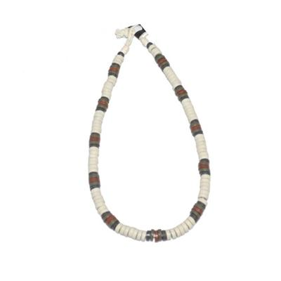 White/Army Green/Brown/Gray Beads Men's Necklace